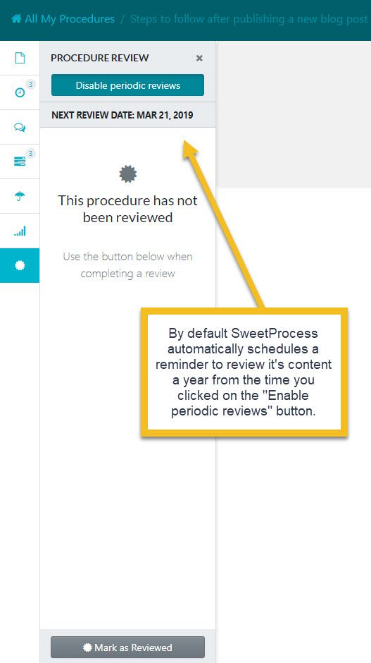 """By default SweetProcess automatically schedules a reminder to review the content a year from the time you clicked on the """"Enable periodic reviews"""" button."""