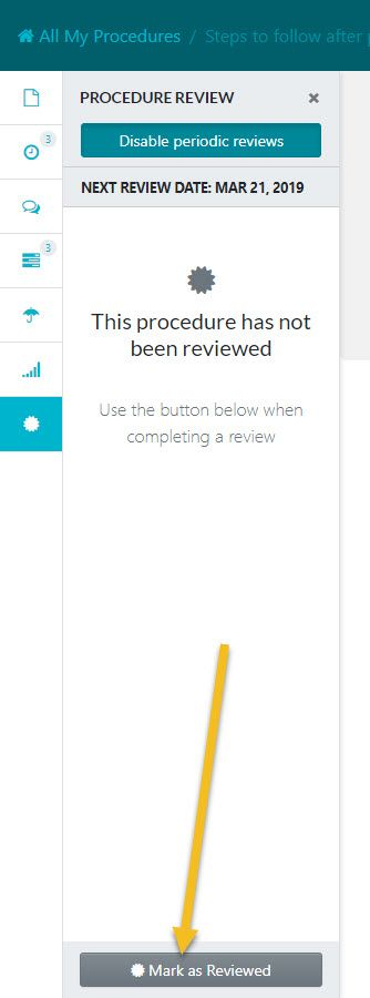 """After the review sidebar window opens up click on the """"Mark as Reviewed"""" button."""