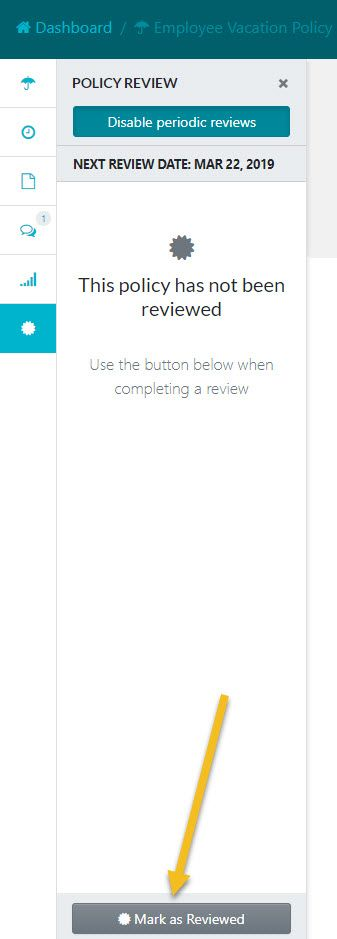 "After the review sidebar window opens up click on the ""Mark as Reviewed"" button."