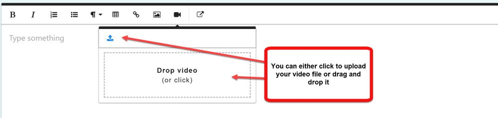 Click the upload icon to upload your video file or drag and drop it into the box that opens up