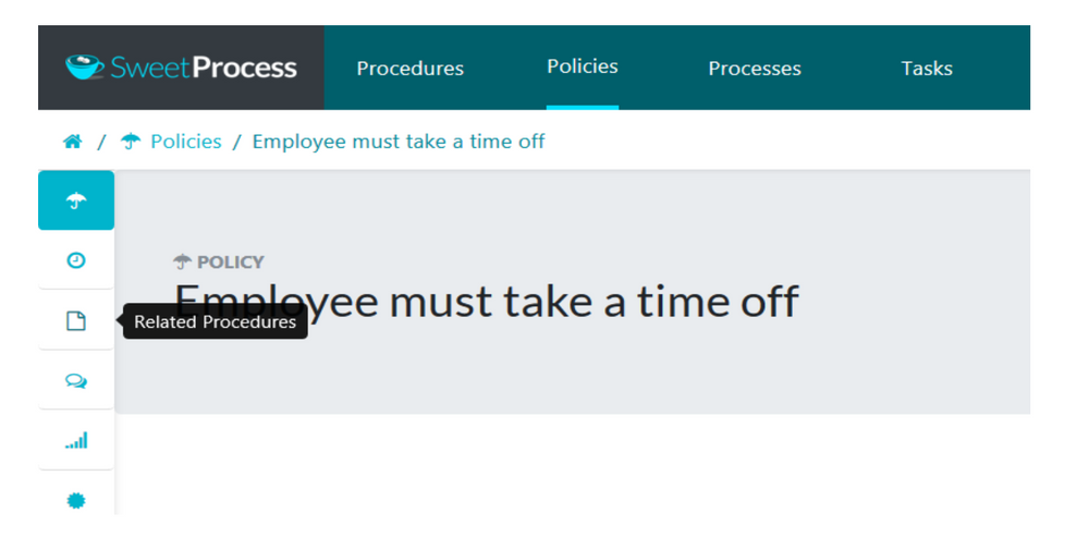 "After the new page loads up, click on the ""Related Procedures"" icon on the policy sidebar."