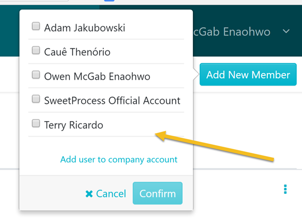 """When the page opens, click on the employee you want to add to the team. Then click """"Confirm"""" button."""