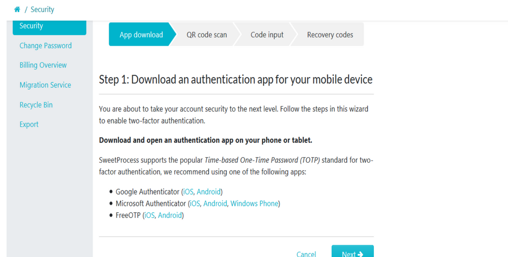 """When step 1 of the 4 step 2FA menu page loads up, download an authentication app of your choice for your mobile device. Then click on the """"Next"""" button to continue."""