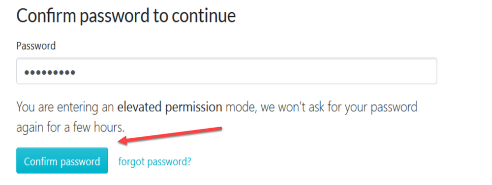 """When the new page loads, click on """"Confirm password"""" to continue."""