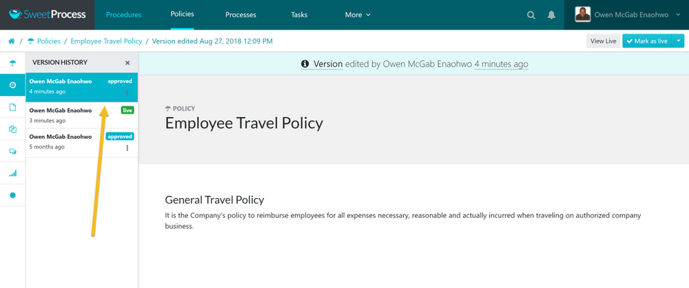After the version history sidebar menu opens up, click on the version of the policy you want to see.