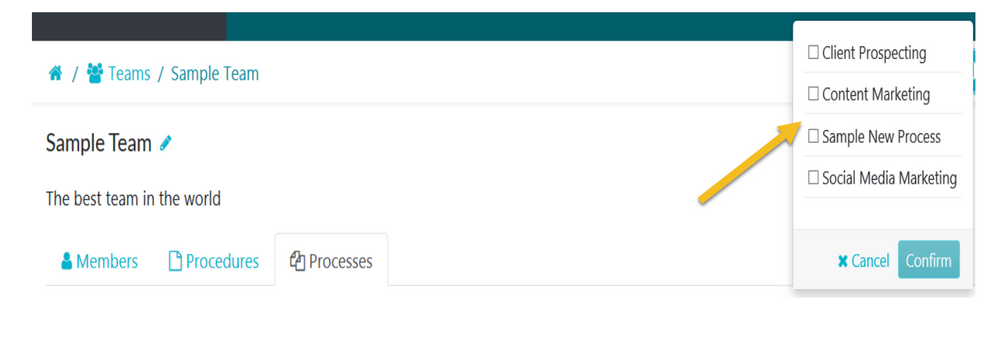 When the page opens, choose the process you want to add to the team and click on the Confirm button.