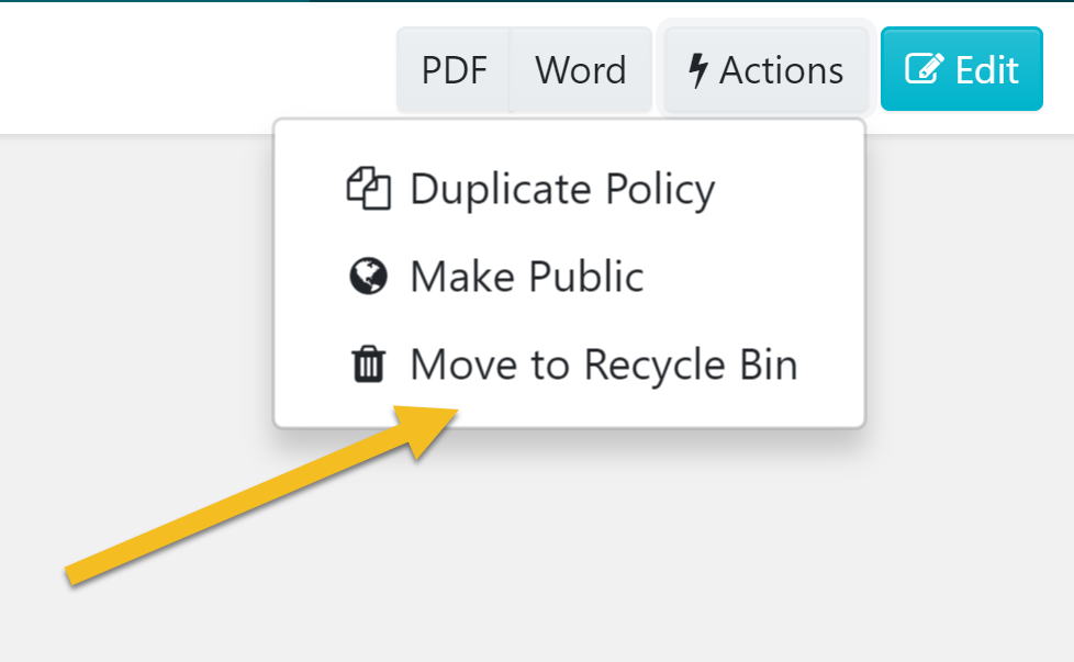 "Click on the ""Move to Recycle Bin"" button in the menu that appears."