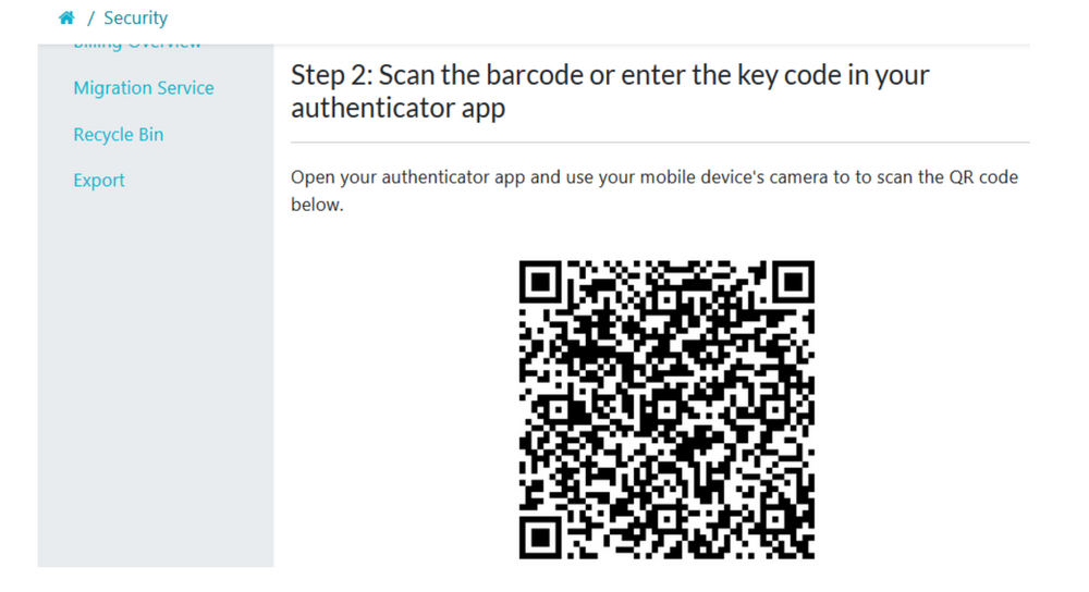"""When step 2 of the 4 step 2FA menu page loads up, open your authenticator app and use your mobile device's camera to scan the QR code below. Then click on the """"Next"""" button to continue."""