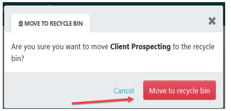 "Click on the ""Move to recycle bin"" button to confirm"
