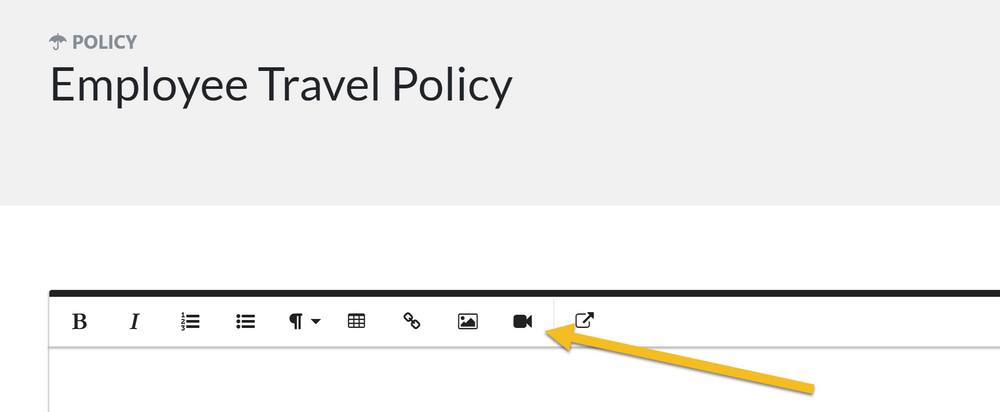 "While editing the policy description click on the ""Insert Video"" button"