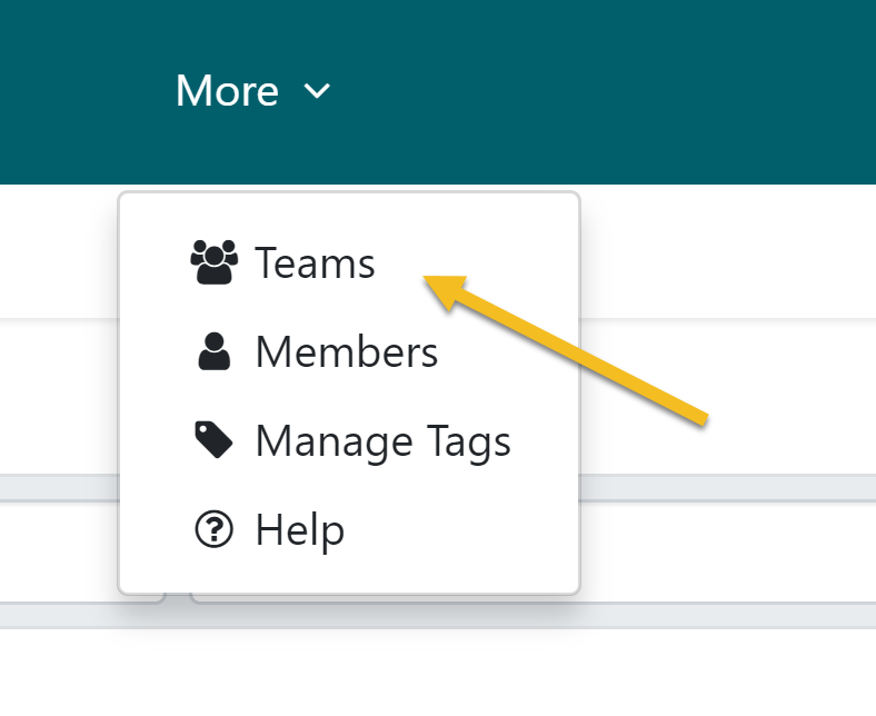 """Step 1: From the top navigation bar, click on the """"More"""" tab. Then scroll down to click on the """"Teams"""" button."""