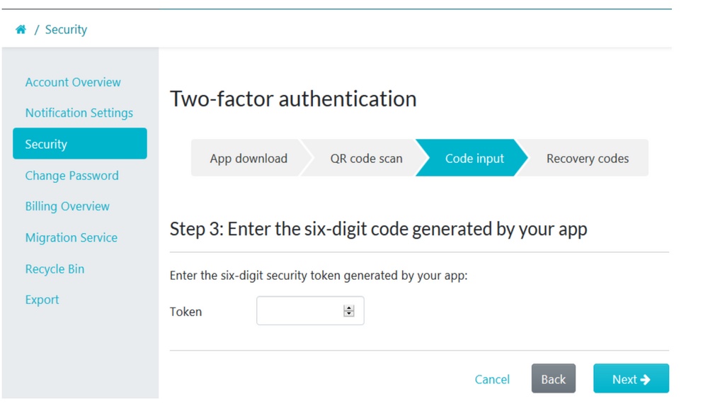 When step 3 of the 4 step 2FA menu page loads up, enter the six-digit security token generated by your app.
