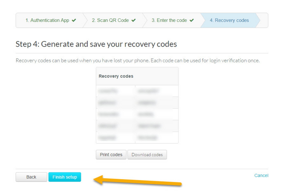 """After generating your recovery codes, click on the """"Finish setup"""" button."""