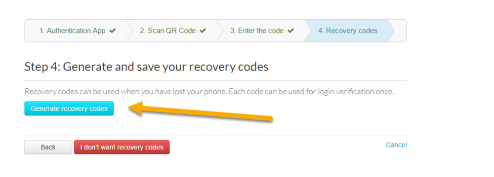 When step 4 of the 4 step 2FA menu page loads up, generate and save your recovery codes which can be used if you lost your phone.