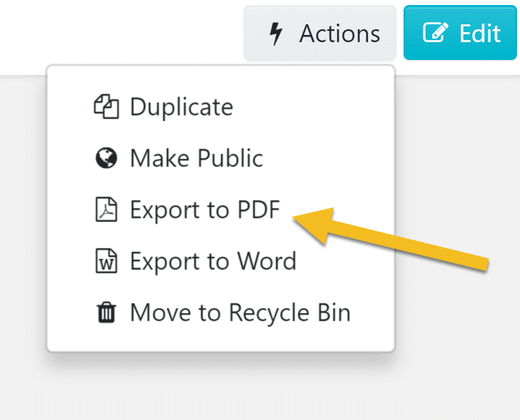 "After the drop-down menu appears, click on the ""Export to PDF"" button."