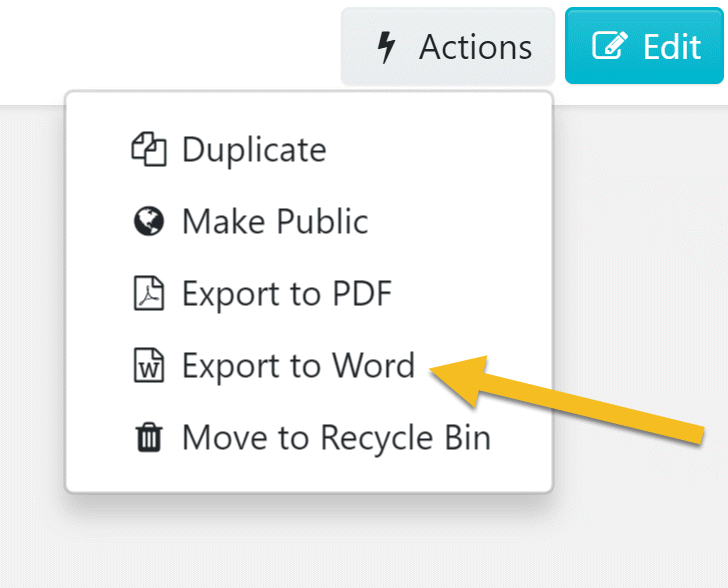 "After the drop-down menu appears, click on the ""Export to Word"" button."