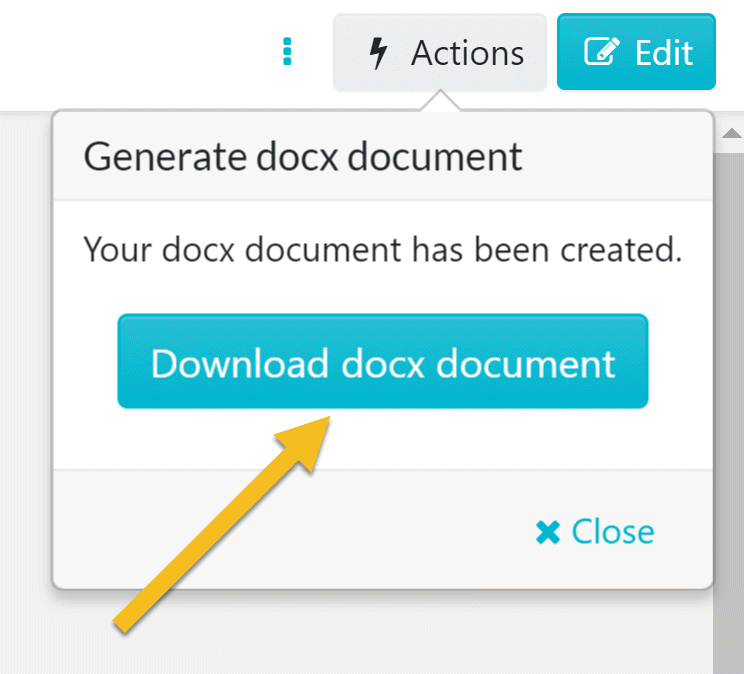 "Once the ""Generate docx document"" menu loads, click on the ""Download docx document"" button to download the PDF version of the procedure."