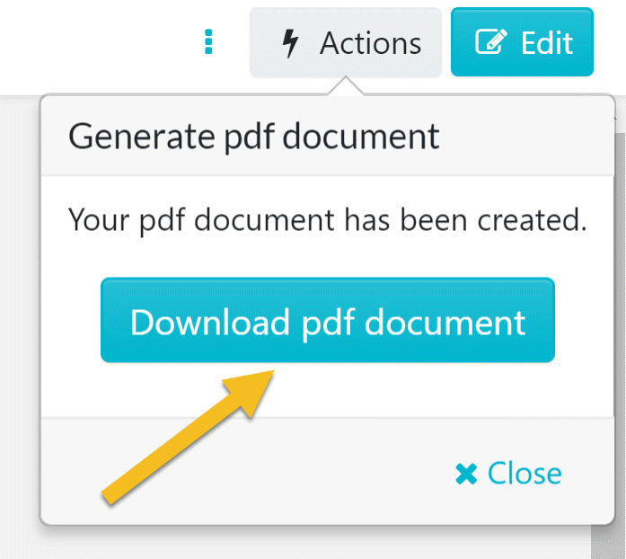 "Once the ""generate PDF document"" menu loads, click on the ""Download PDF document"" button to download the PDF version of the policy."
