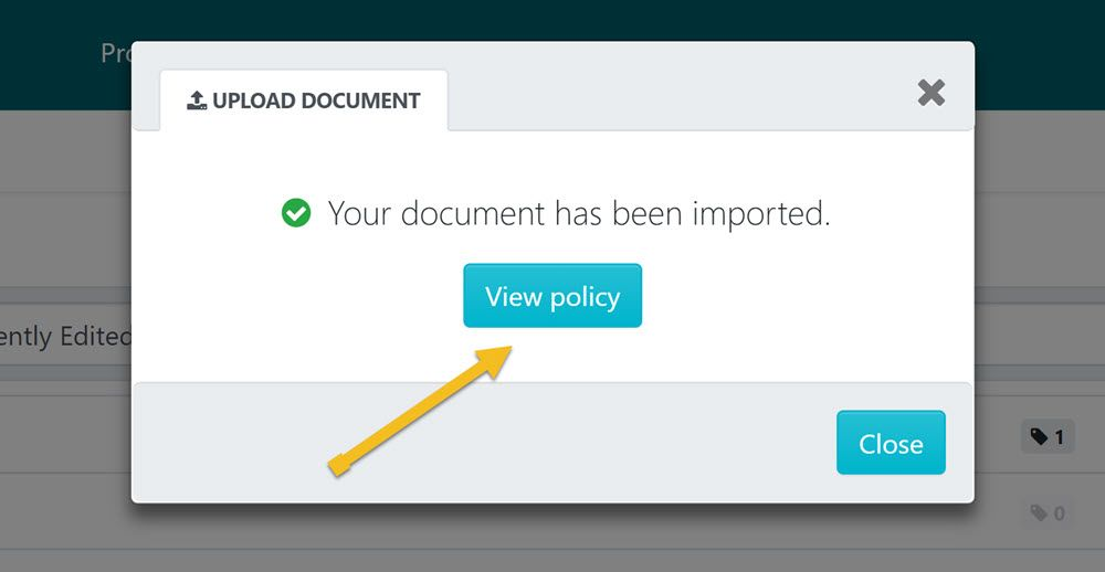 "After the policy has been imported click on the ""View policy"" button."