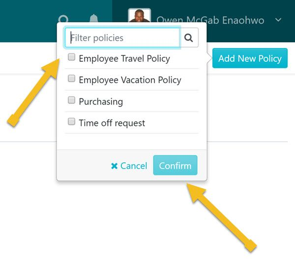 When the page opens, choose the policy you want to add to the team and click on the Confirm button.