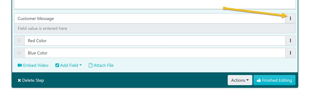 While editing the step of the procedure click on the form fields you want to reorder.