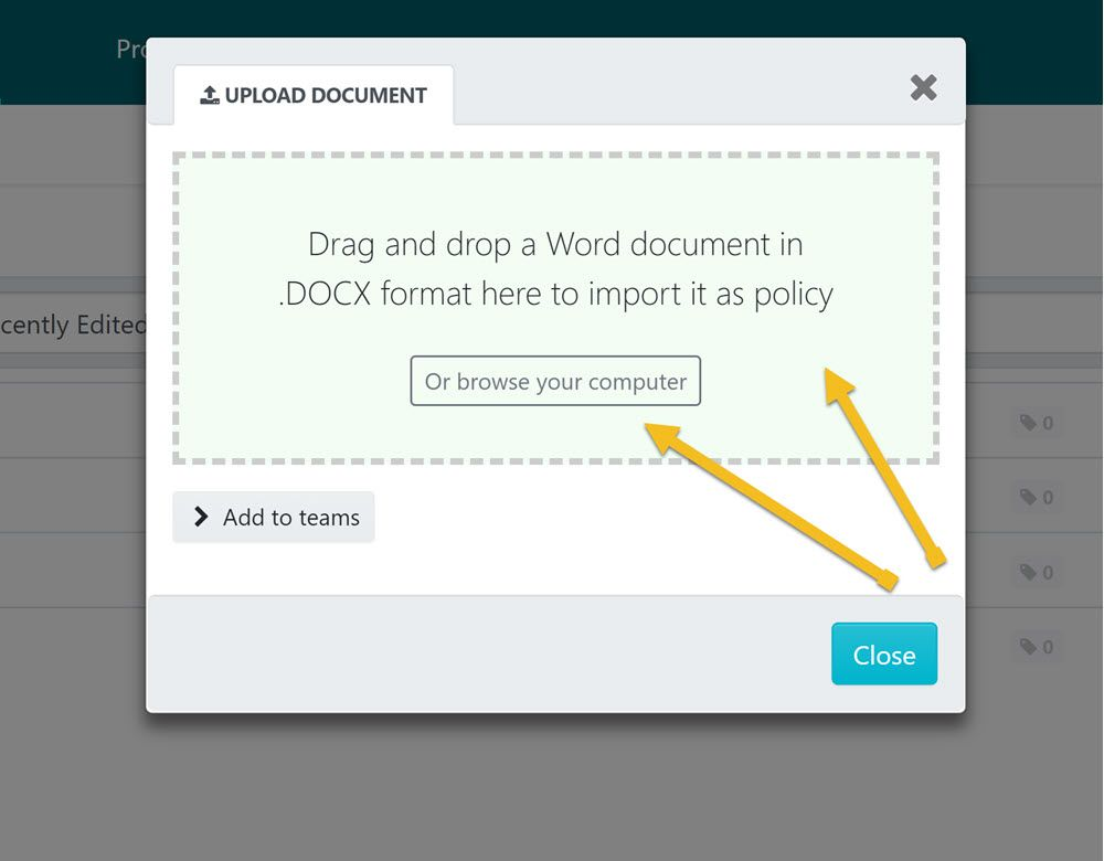 "Drag and drop the file into the ""UPLOAD DOCUMENT"" dialog box or browse your computer for the file and upload it."