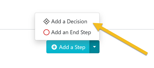 "Click on the ""Add a Decision"" button."